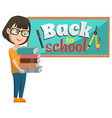girl stand near blackboard back to school vector image vector image