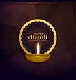 golden diwali greeting card design with diya lamp vector image vector image