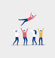 group of people tossing in the air winner and vector image