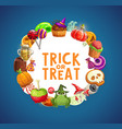 halloween candies pumpkins cakes lollipops vector image vector image