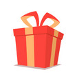 isolated red christmas gift box with ribbon vector image