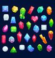 jewelry gemstones gems and diamond crystals vector image