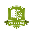 logo tree and the book for college vector image vector image