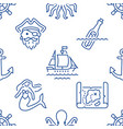 marine seamless pattern with line icons vector image vector image