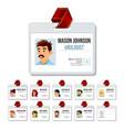 medical identification badge set woman vector image vector image
