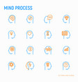 mind process thin line icons set vector image