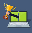 online award goal achievement laptop computer and vector image vector image