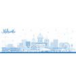outline helsinki finland city skyline with blue vector image vector image