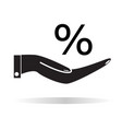 percentage on hand icon flat style percentage on vector image vector image
