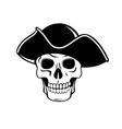 Pirate skull in black hat vector image