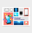 realistic global communications concept vector image vector image