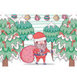 santa claus with pine tree and balls vector image