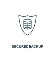 secured backup outline icon thin line style from vector image vector image