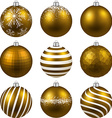 Set of realistic gold christmas balls vector image vector image