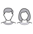 simple human male and female head outline vector image