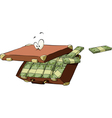 suitcase of money vector image vector image