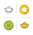 Tea pot flat design linear and color icons set vector image