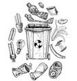 trash set with dumpster sketch different types vector image