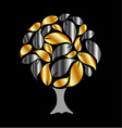 Tree with gold and silver leaves vector image vector image