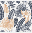 tropical flora seamless pattern plants vector image vector image