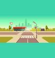 urban street landscape crossroads traffic lights vector image vector image