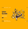 user guide isometric landing page people and book vector image