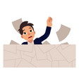 young businessman drowns in paper work isolated on vector image vector image