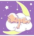 Baby sleeping on moon vector image