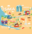 map of osaka vector image