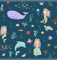 mermaids and sea animals on a dark background vector image