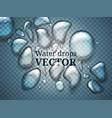 realistic drops of water liquid on blue vector image