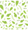 abstract seamless pattern with cute green leaves vector image vector image