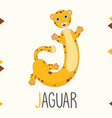 alphabet letter j and jaguar vector image