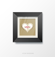 Black frame and heart paper vector image