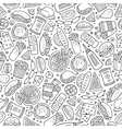 Cartoon cute hand drawn Fast food seamless pattern vector image vector image