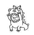cartoon screaming dragon vector image vector image