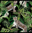 cheetah and leopards palm leaves tropical vector image