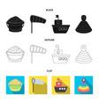 children toy blackflatoutline icons in set vector image
