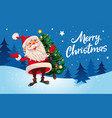christmas cute cartoon santa claus with christmas vector image
