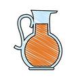 color crayon stripe cartoon glass jar with juice vector image vector image