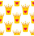 crown with hearts seamless background or tile baby vector image vector image
