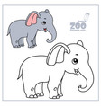cute cartoon little elephant color and outlined vector image vector image
