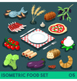 Diet Set 05 Food Isometric vector image