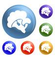 eco broccoli icons set vector image vector image