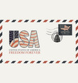 envelope with letters usa and american flag vector image vector image