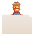 Farmer looking at blank poster on top vector image vector image