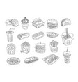fast food and drinks sketch set hand drawn vector image