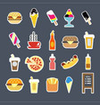 fast food menu burgers drinks or desserts vector image