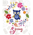 Funny owl in floral wreath vector image vector image