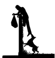 Guard dog and intruder vector image vector image